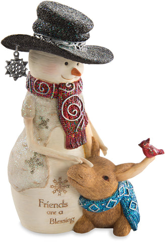 Friends are a blessing Snowman with Moose Figurine Snowman Figurine - Beloved Gift Shop