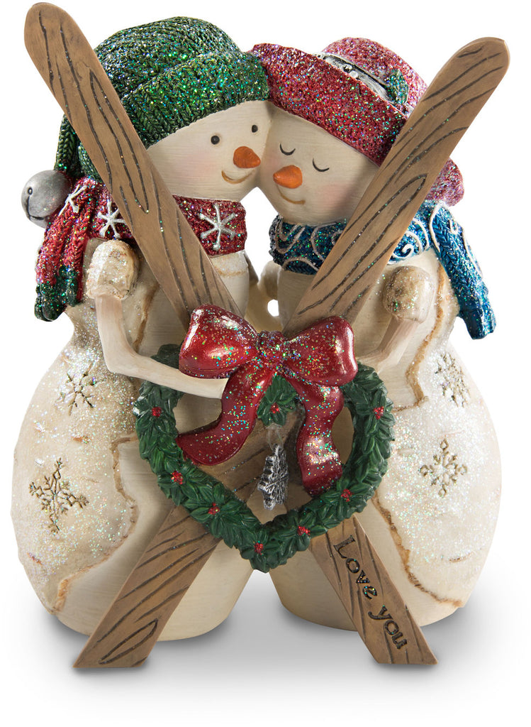 Love you Snowmen Couple with Skis Figurine Snowman Figurine - Beloved Gift Shop