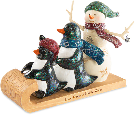 Love keeps a family warm Snowman with Two Penguins Figurine