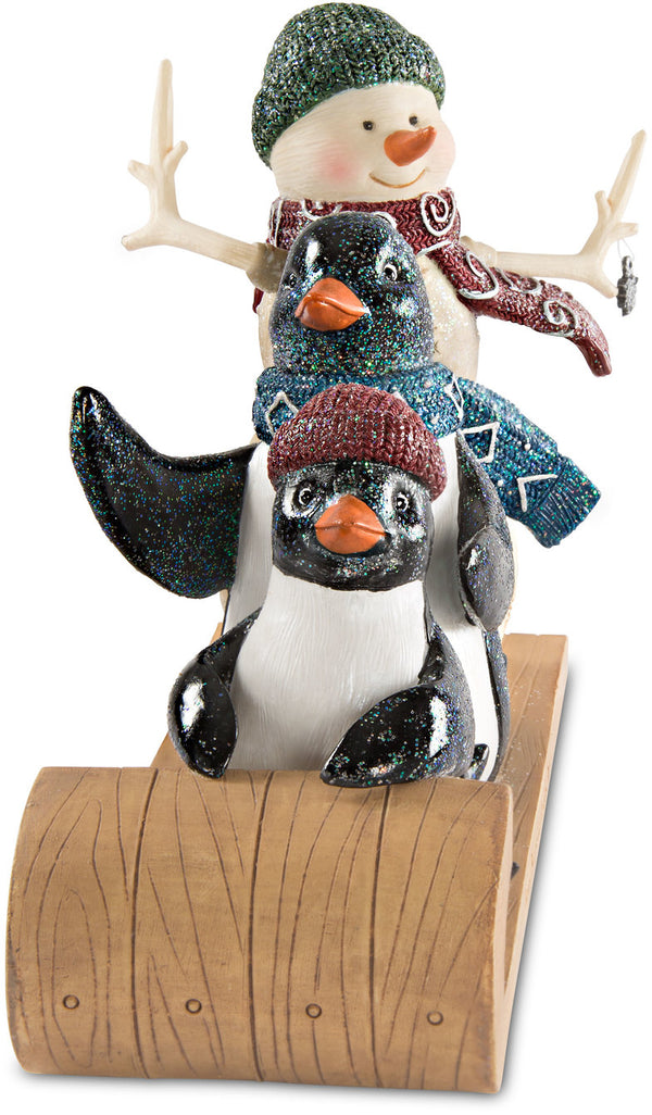 Love keeps a family warm Snowman with Two Penguins Figurine Snowman Figurine - Beloved Gift Shop