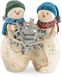 Special sisters Snowmen holding snowflake Figurine