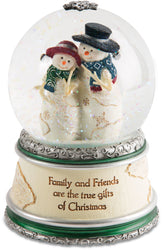 Family and friends are the true gifts of Christmas LED Musical Water Globe