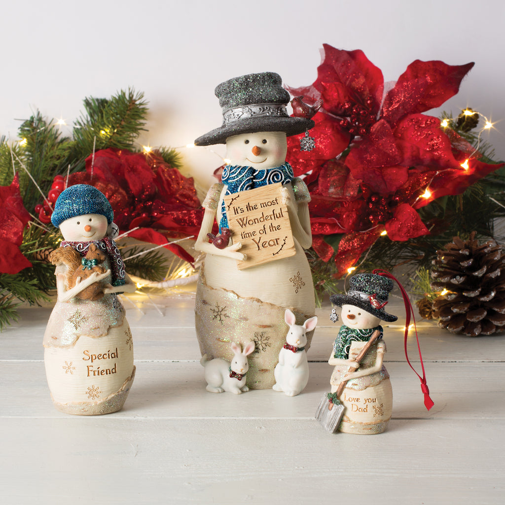 It's the most wonderful time of the year Snowman Holding Sign Figurine Snowman Figurine - Beloved Gift Shop