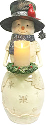 Warm Greetings Snowman Holding Candle Ring Figurine
