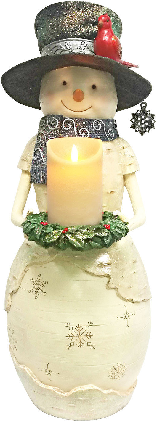 Warm Greetings Snowman Holding Candle Ring Figurine Snowman Figurine - Beloved Gift Shop
