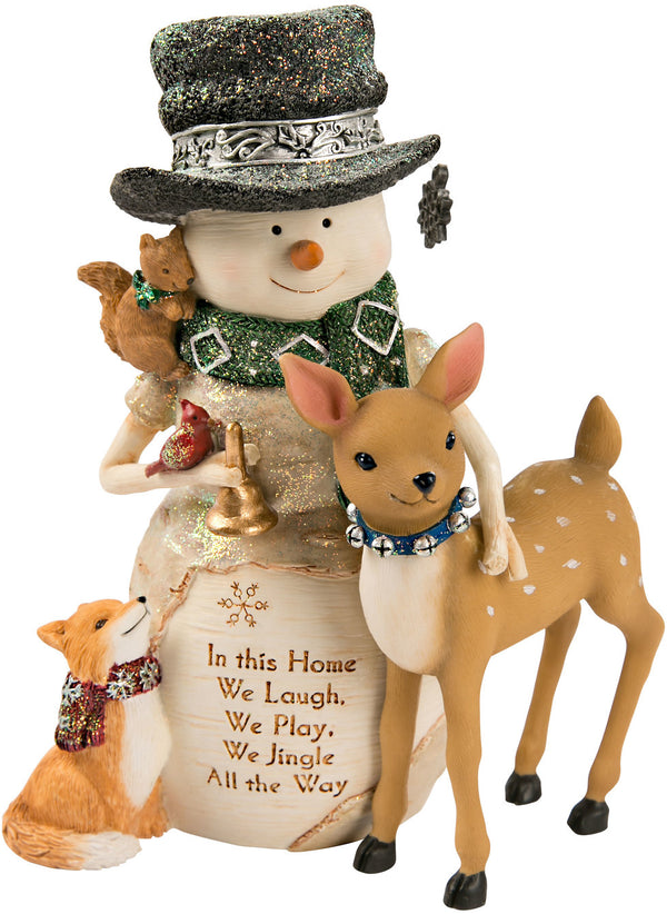 Snowman with a Deer & Fox In this home, we laugh, we play, we jingle all the way Figurine Snowman Figurine - Beloved Gift Shop