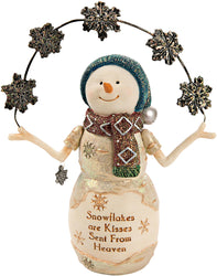 Snowflakes are kisses sent from Heaven Snowman with Snowflakes Figurine