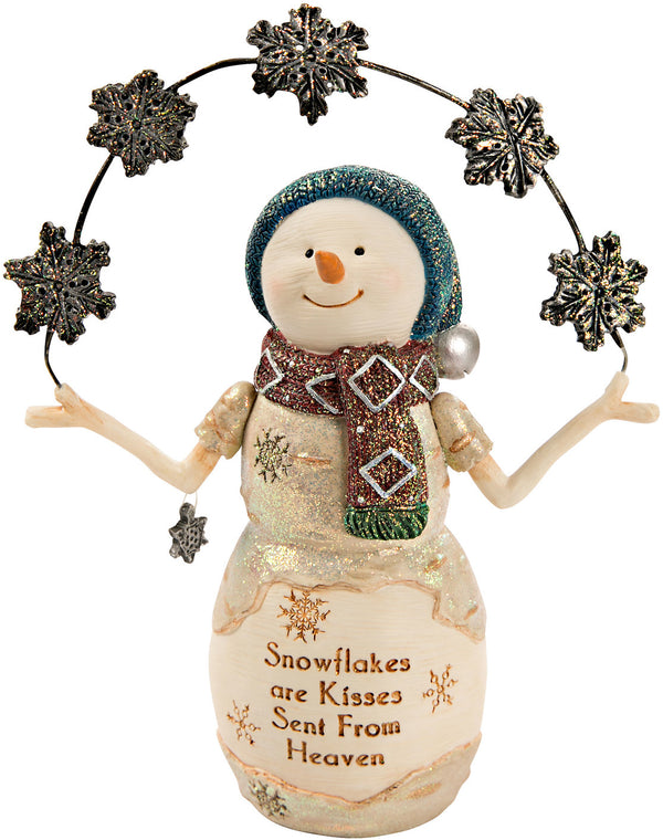 Snowflakes are kisses sent from Heaven Snowman with Snowflakes Figurine Snowman Figurine - Beloved Gift Shop