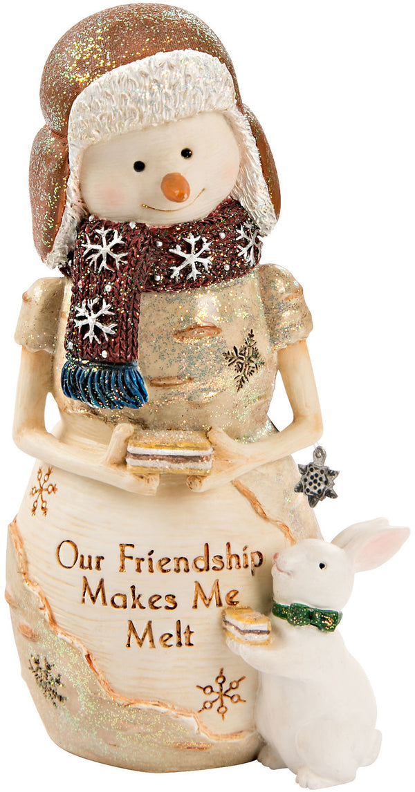 Our friendship makes me melt Snowman with Bunny Figurine Snowman Figurine - Beloved Gift Shop