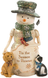 Tis' the Season to Rescue Snowman with Puppy & Kitty Figurine