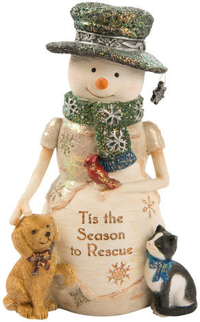 Tis' the Season to Rescue Snowman with Puppy & Kitty Figurine Snowman Figurine - Beloved Gift Shop