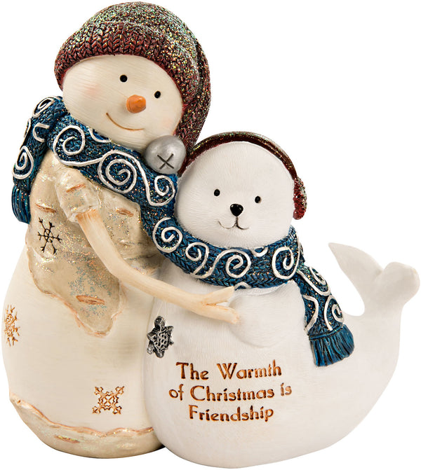 The Warmth of Christmas is Friendship Figurine Snowman Figurine - Beloved Gift Shop