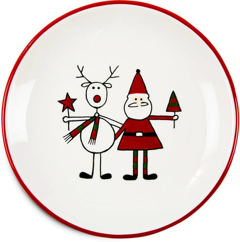 "Reindeer with Santa - 6.75"" Plate by Holiday Hoopla - Beloved Gift Shop"
