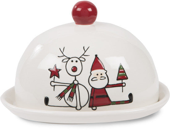 Reindeer with Santa Christmas Butter Dish