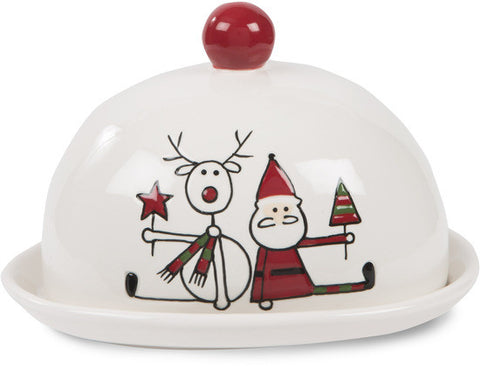 "Reindeer with Santa - 4"" Butter Dish by Holiday Hoopla - Beloved Gift Shop"