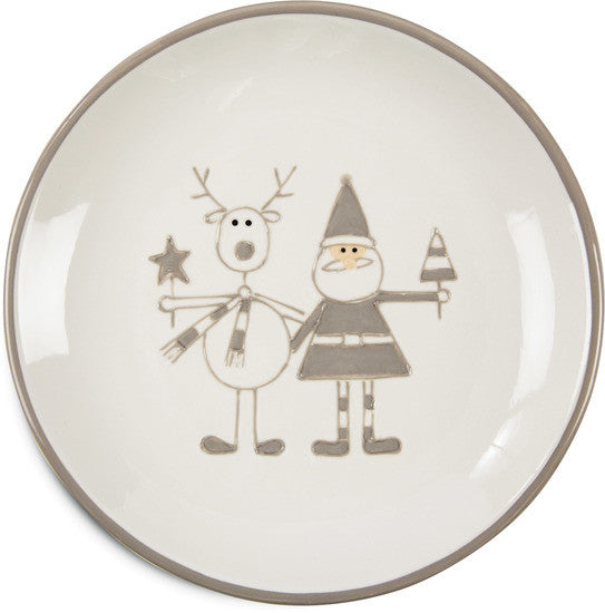 Reindeer with Santa Christmas Plate (Grey) Round Plate - Beloved Gift Shop