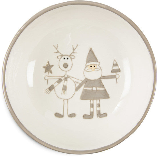 "Reindeer with Santa - 6.5"" Bowl by Holiday Hoopla - Beloved Gift Shop"