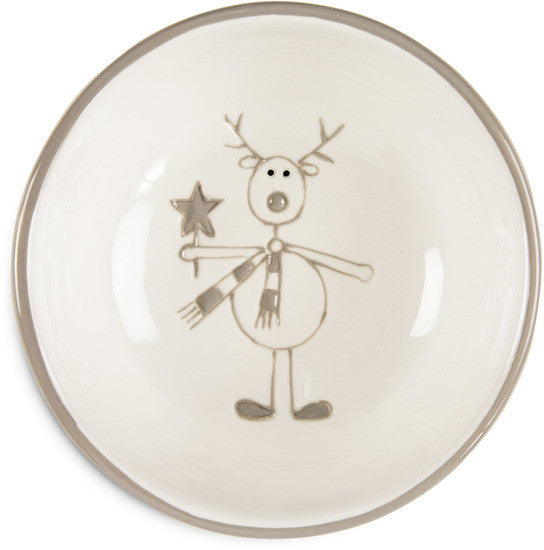 Reindeer Christmas Bowl (Grey) | Beloved Gift Shop