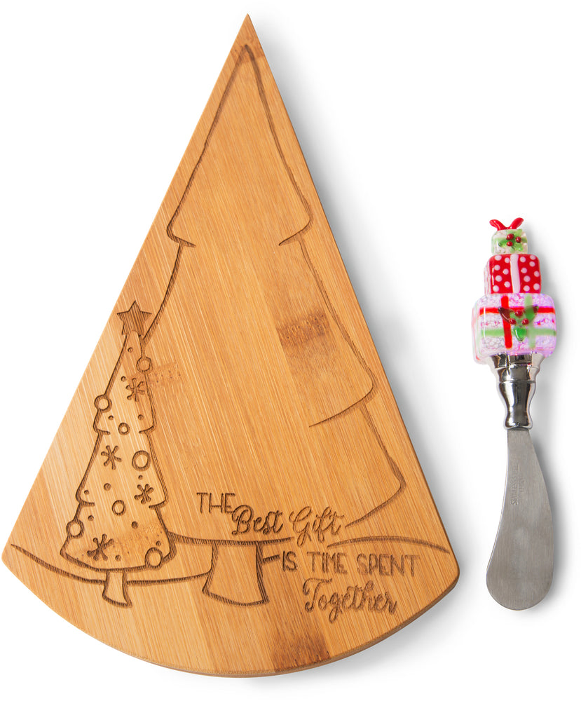 The best gift is time spent together Bamboo Cheese Board & LED Spreader