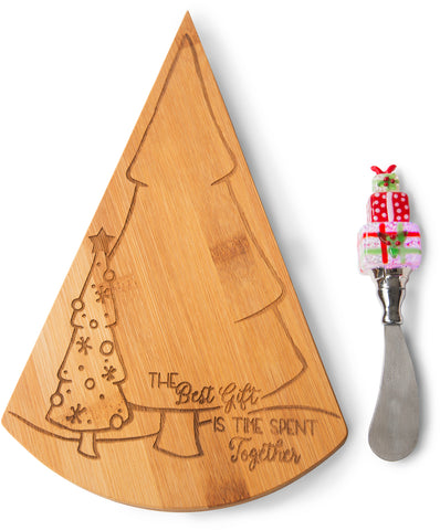 The best gift is time spent together Bamboo Cheese Board & LED Spreader Cheese Board & Spreader - Beloved Gift Shop