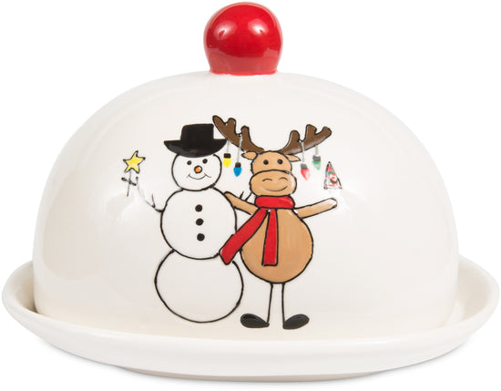 Snowman with Moose Christmas Butter Dish