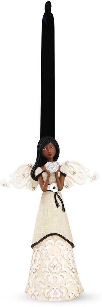 Ebony Love Angel - Angel with Heart Ornament by Modeles - Beloved Gift Shop