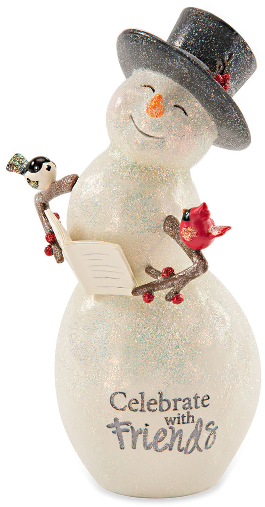 Celebrate with friends Snowman with Book Figurine Snowman Figurine - Beloved Gift Shop