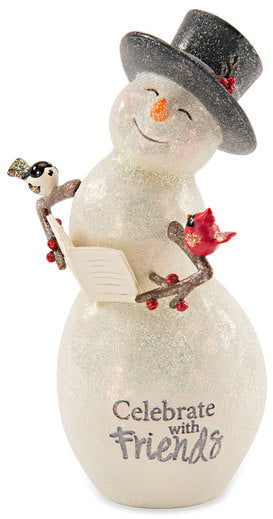 Celebrate with friends Snowman with Book Figurine
