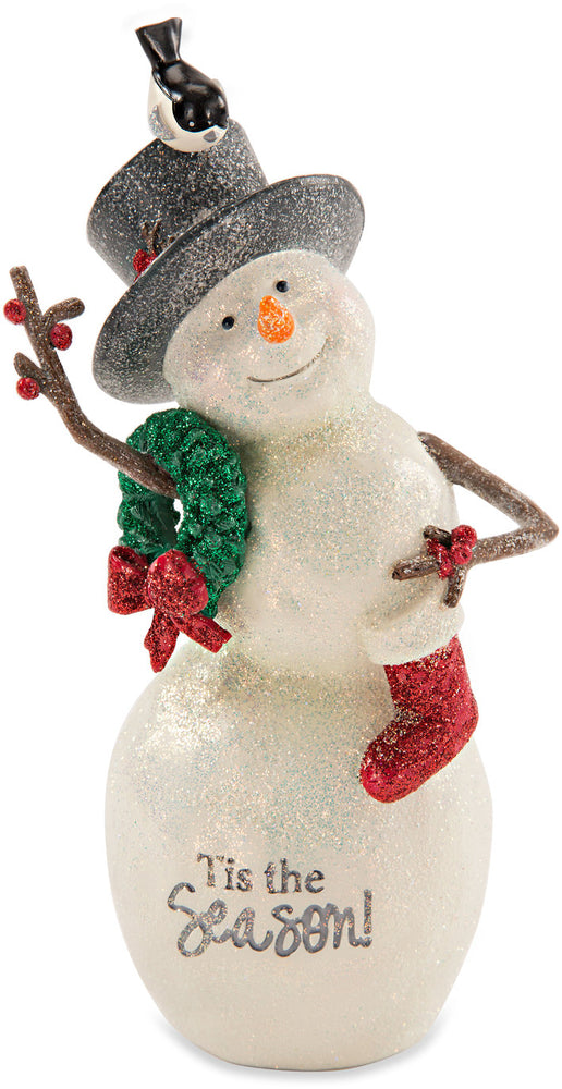 Tis the Season Snowman with Wreath Figurine
