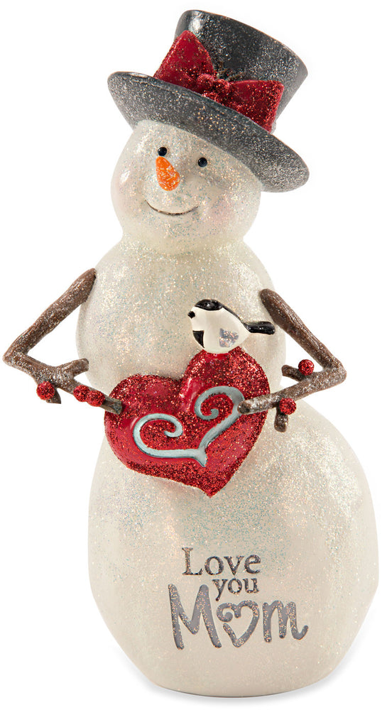 Love You Mom Snowman with Heart Figurine