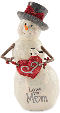 Love You Mom Snowman with Heart by Berry and Bright - Beloved Gift Shop