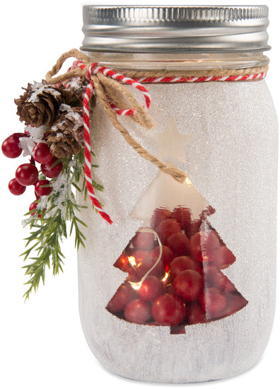 Christmas Tree LED Mason Jar