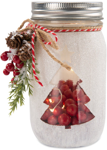 Christmas Tree - LED Lit Jar by Berry and Bright - Beloved Gift Shop