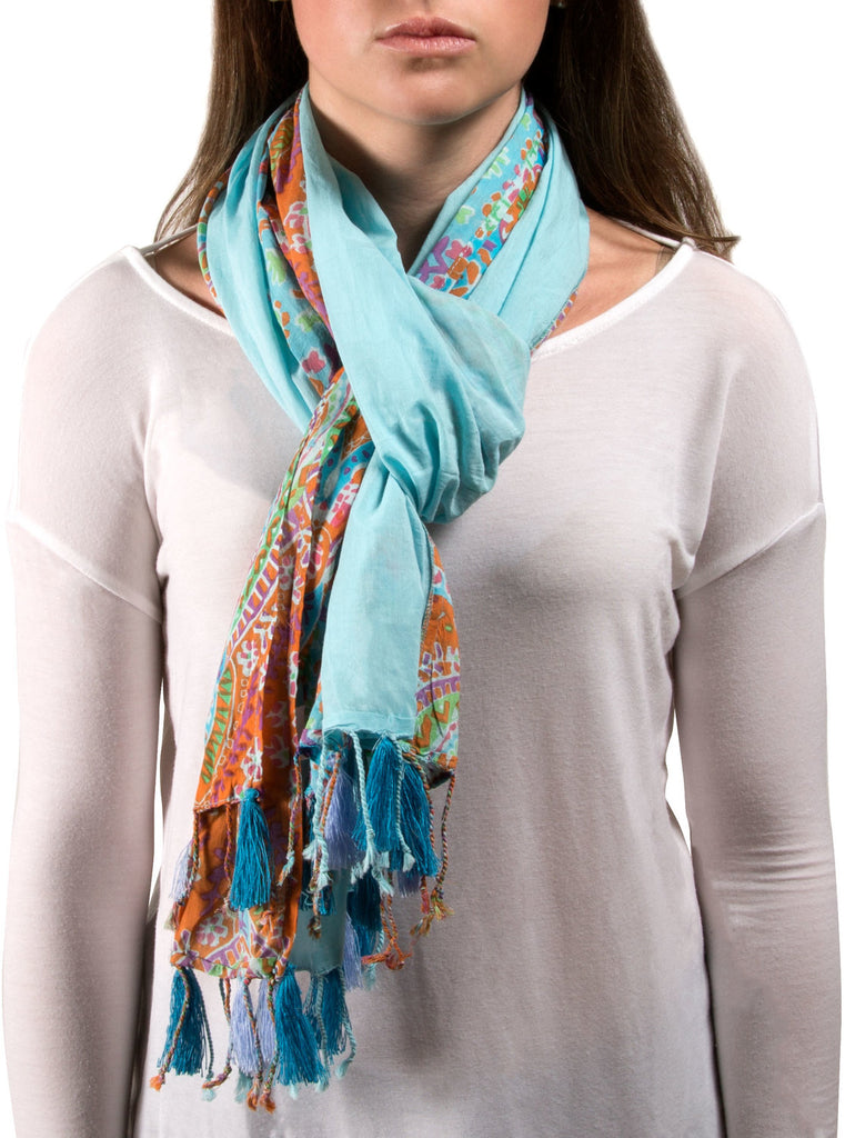 Paisley Cotton Scarf Blue Scarf Scarf - Beloved Gift Shop