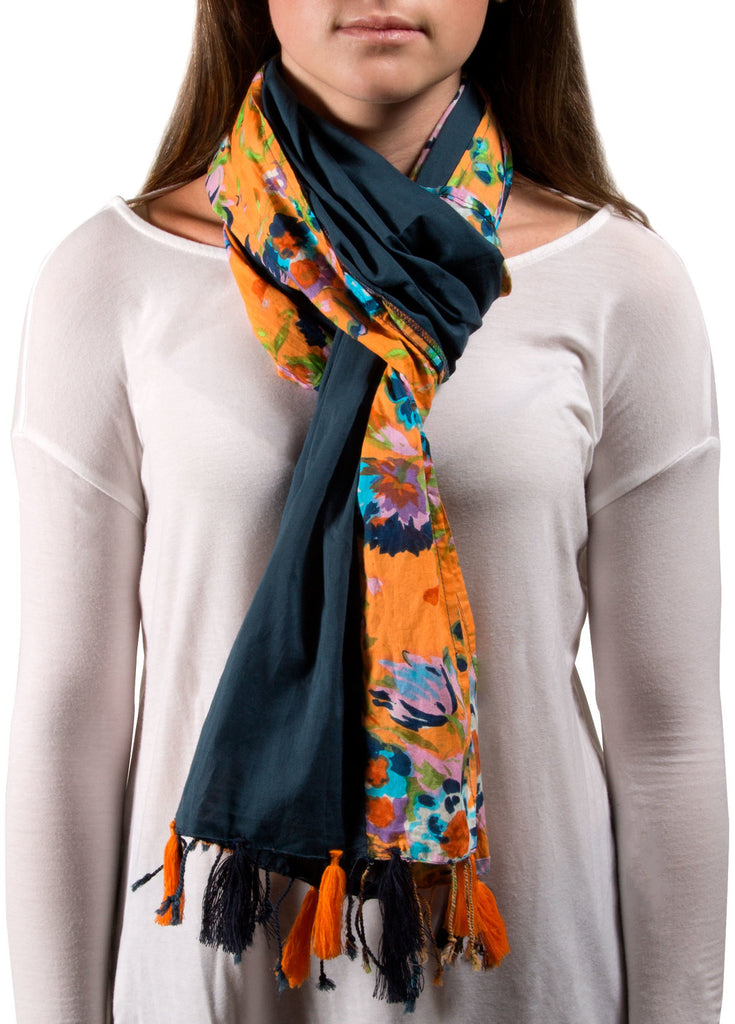 Sheena Flower Cotton Navy Scarf Scarf - Beloved Gift Shop