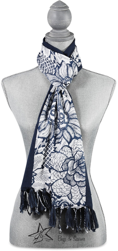 Serene Flower Navy Scarf Suede Scarf - Beloved Gift Shop