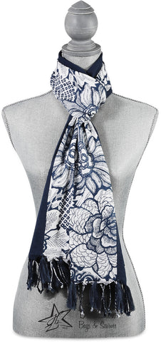 "Serene Flower Cotton Scarf - 20""x71"" Navy Scarf by Destination Bags and Scarves - Beloved Gift Shop"