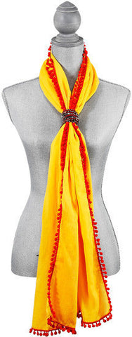 "Pom Pom Cotton Scarf - 20"" x 71"" Yellow Scarf by Destination Bags and Scarves - Beloved Gift Shop"
