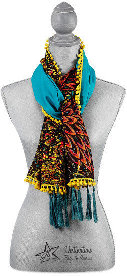 "Peacock Cotton Scarf - 20"" x 71"" Multicolor Floral Scarf by Destination Bags and Scarves - Beloved Gift Shop"