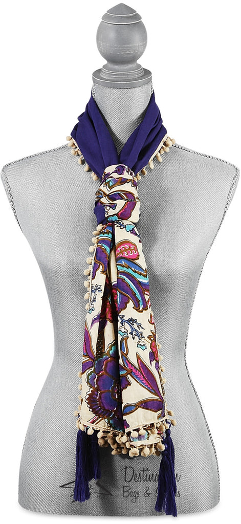 "Indienne Floral Cotton Scarf - 20""x71"" Ecru/Pur Scarf by Destination Bags and Scarves - Beloved Gift Shop"