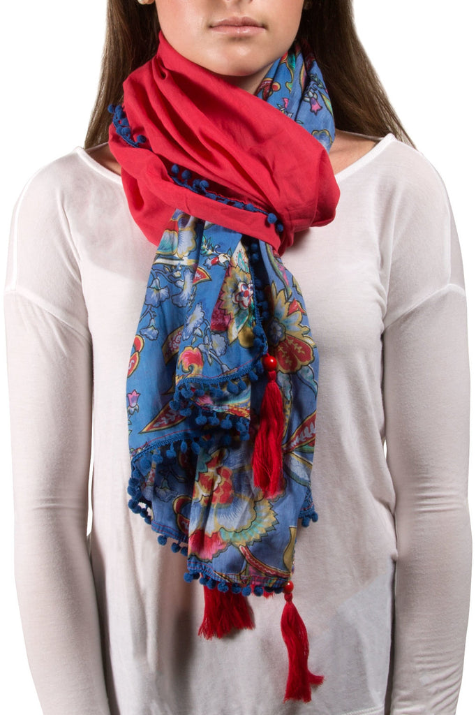 Indienne Floral Cotton Scarf Coral/Blue Scarf Scarf - Beloved Gift Shop