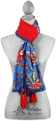 Indienne Floral Coral/Blue Scarf Suede Scarf - Beloved Gift Shop