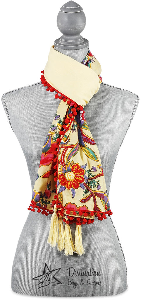 "Indienne Floral Cotton Scarf - 20""x71"" Ecru/Coral Scarf by Destination Bags and Scarves - Beloved Gift Shop"