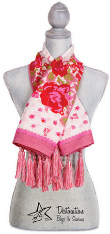 "Simone Floral Cotton Scarf - 40"" x 40"" Pink Scarf by Destination Bags and Scarves - Beloved Gift Shop"