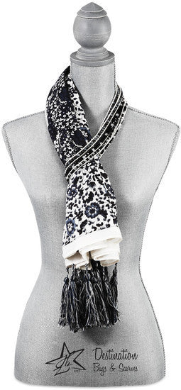 "Vanessa Floral Cotton Scarf - 40"" x 40"" Black Scarf by Destination Bags and Scarves - Beloved Gift Shop"