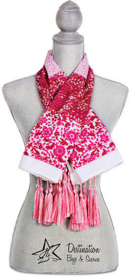 "Vanessa Floral Cotton Scarf - 40"" x 40"" Fuchsia Scarf by Destination Bags and Scarves - Beloved Gift Shop"