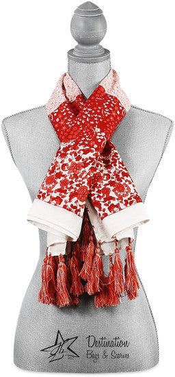 "Vanessa Floral Cotton Scarf - 40"" x 40"" Coral Scarf by Destination Bags and Scarves - Beloved Gift Shop"