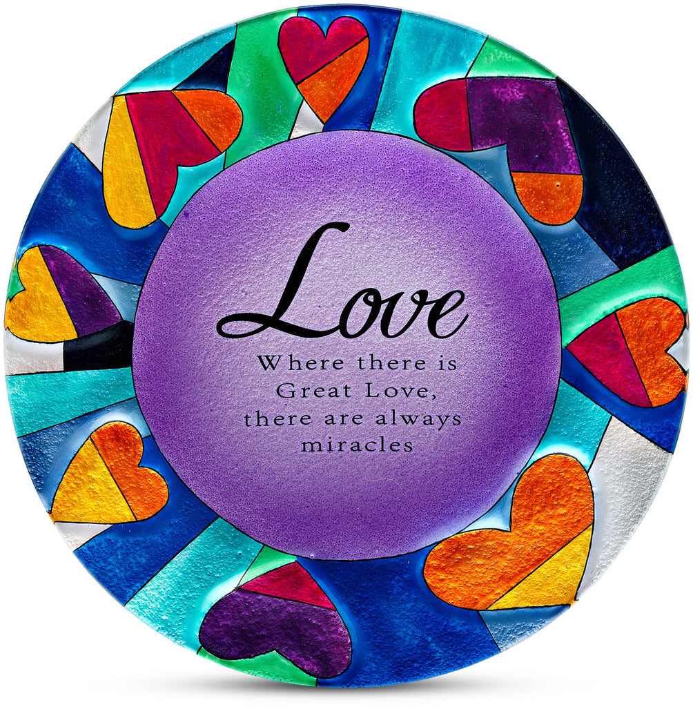 Love Where there is Great Love, there are always miracles Round Glass Plate Glass Plate - Beloved Gift Shop