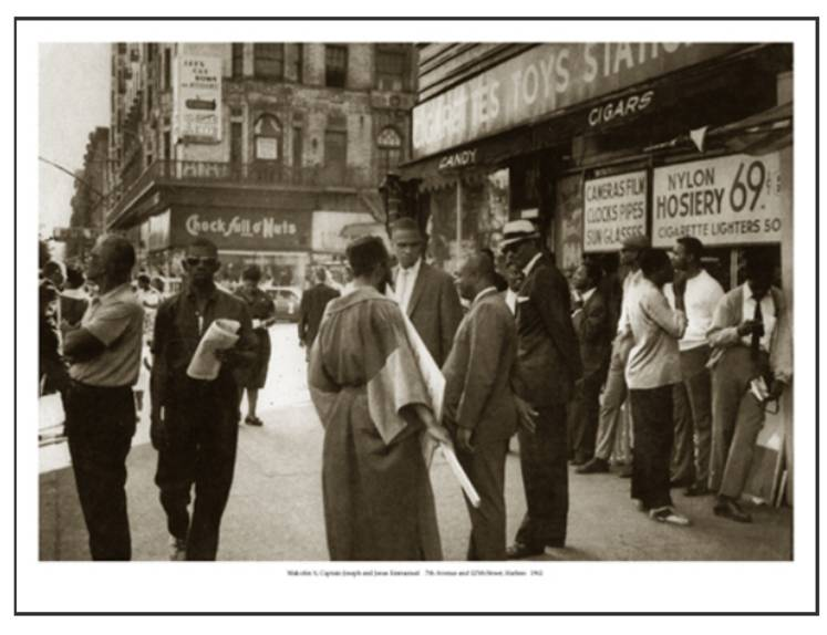 Harlem, 1962: 7th Avenue & 125th Street: Malcolm X, Captain Joseph & Jesus Emmanuel | Klytus Smith