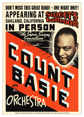Count Basie: Sweets Ballroom Oakland 1939 Unknown Art Print Posters & Prints - Beloved Gift Shop